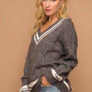 Hem & Thread Contemporary Varsity V-Neck Sweater